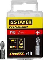 "Биты STAYER ""PROFESSIONAL"" ProFix Phillips, тип хвостовика C 1/4"", № 3, L=25мм, 10шт"